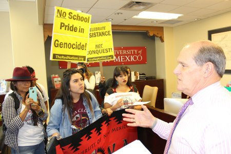 """When confronted by students with a list of demands and asked if he found UNM's racist, President Bob Frank said point blank, """"I don't."""" (Photo by David Correia)"""