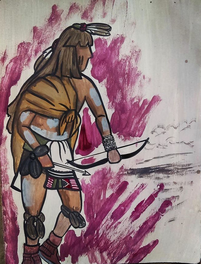 Hopi artist Travis Tuvungytewa painted this piece August 10, 2016 to commemorate the living tradition of resistance of the 1680 Pueblo Revolt. Used with artist's permission.