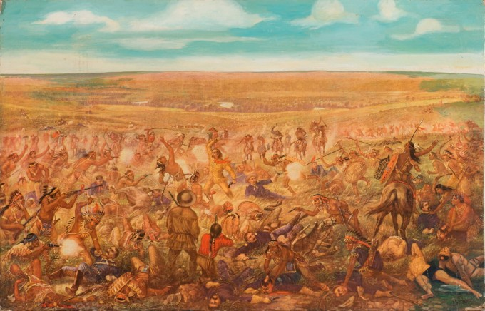 "Commissioned by St. Louis beer-maker Anheuser-Busch in 1889, Otto Becker famously depicted ""Custer's Last Fight"" for beer advertisements, adding to the myth of a valiant last stand scenario and the self-defense of an invading settler nation."
